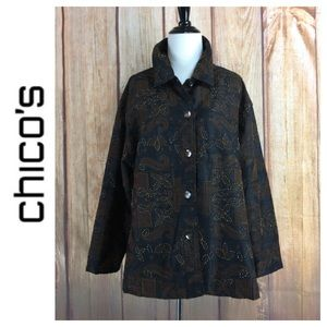 🐞Chico's Embroidered Beaded Shirt Jacket 3(XL/16)